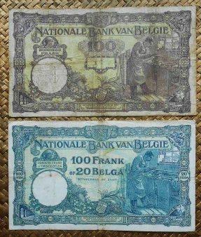 Bélgica 100 francos 1927 vs 100 francos-20 belgas 1932 reversos