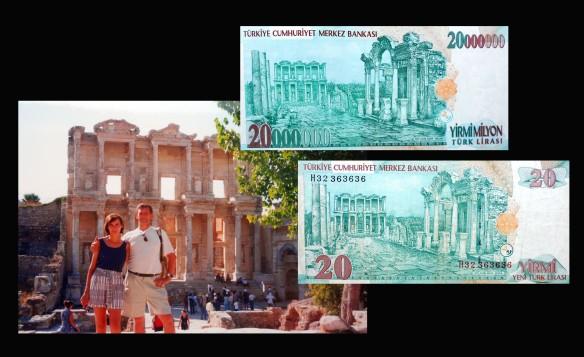 20000000 y 20 liras turcas desde la Biblioteca de Efeso