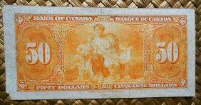 Canada 50 dollars 1937 pk.63b reverso