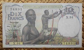 French West Africa 10 francos 1952 (120x70mm) pk.37 anverso