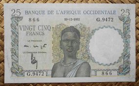 French West Africa 25 francos 1952 (125x76mm) pk.38 anverso