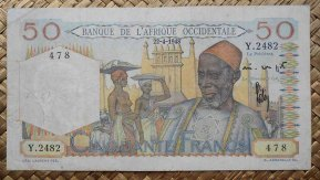 French West Africa 50 francos 1948 (150x80mm) pk.39 anverso