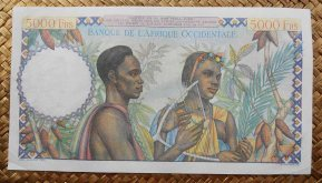 French West Africa 5000 francos 1950 pk.43 reverso