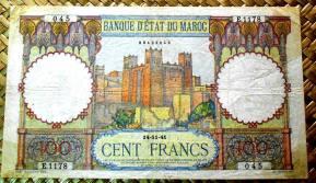 Marruecos 100 francos 1941 (174x100mm) pk.20 anverso
