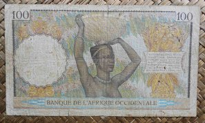 French West Africa -AOF 100 francos 1936 (164x94mm) pk.23 reverso