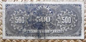 Brasil 500 reis 1893 pk.1a reverso