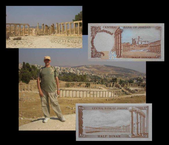 desde la plaza Oval de Jerash entre dirhams y dinares