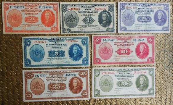 Indias Holandesas serie Gulden 1943 -Reina Guillermina anversos