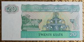 Myanmar 20 kyats 1994 pk.72 reverso