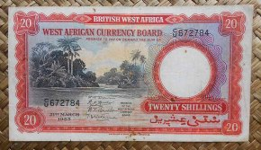 British West Africa 20 shillings 1953 (150x83mm) pk.10 anverso