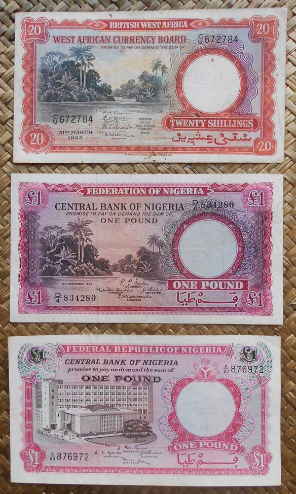 British West Africa vs. Nigeria 20 shilling 1953 vs. 1 pound 1958 vs. 1967 anversos