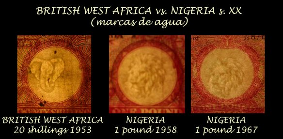British West Africa vs. Nigeria 20 shilling 1953 vs. 1 pound 1958 vs. 1967 marcas de agua