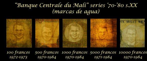 Mali serie francos -Banque Centrale du Mali- años '70-'80 s.XX marcas de agua