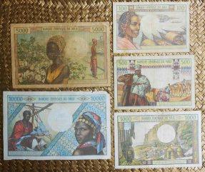 Mali serie francos -Banque Centrale du Mali- años '70-'80 s.XX reversos