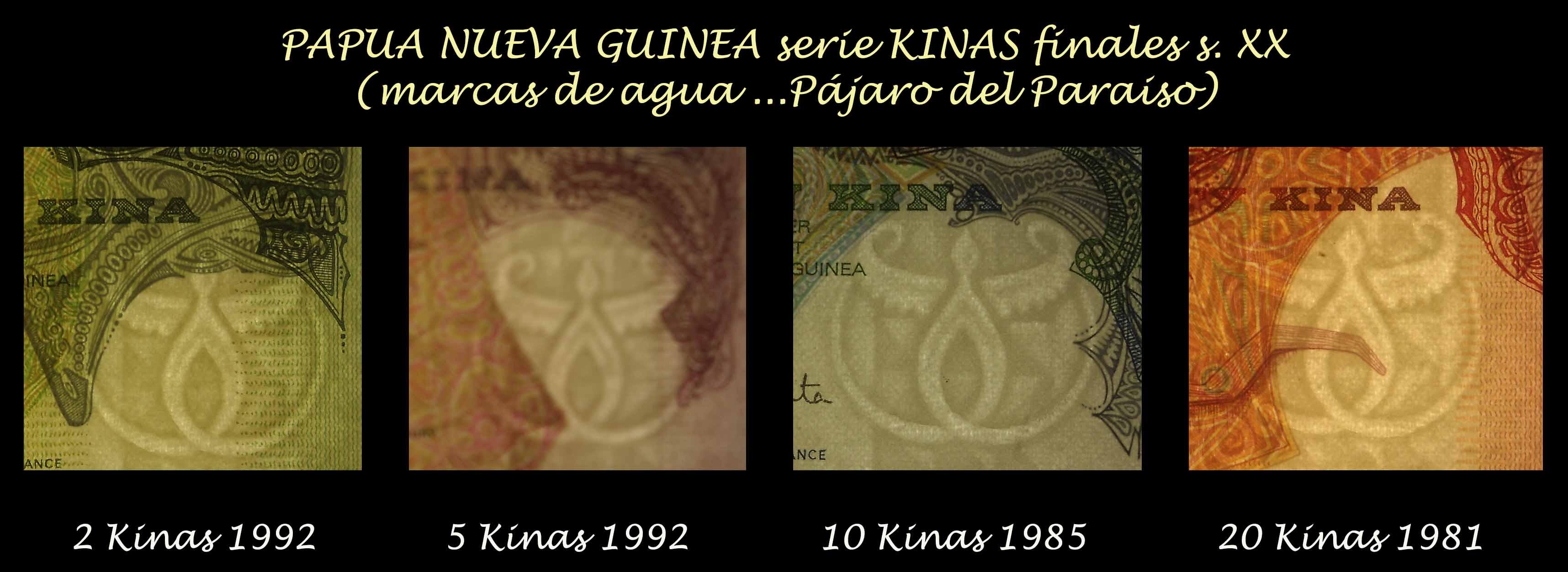 Papua Nueva Guinea serie Kinas finales s. XX marcas de agua