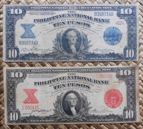 Filipinas 10 pesos -G. Washington 1921 vs. 1937 anversos