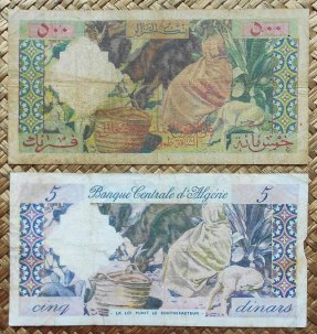 Argelia francesa 500 francos 1958 vs. Argelia 5 dinares 1964 reversos