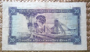 Sudáfrica 20 rand 1962 pk.108A reverso