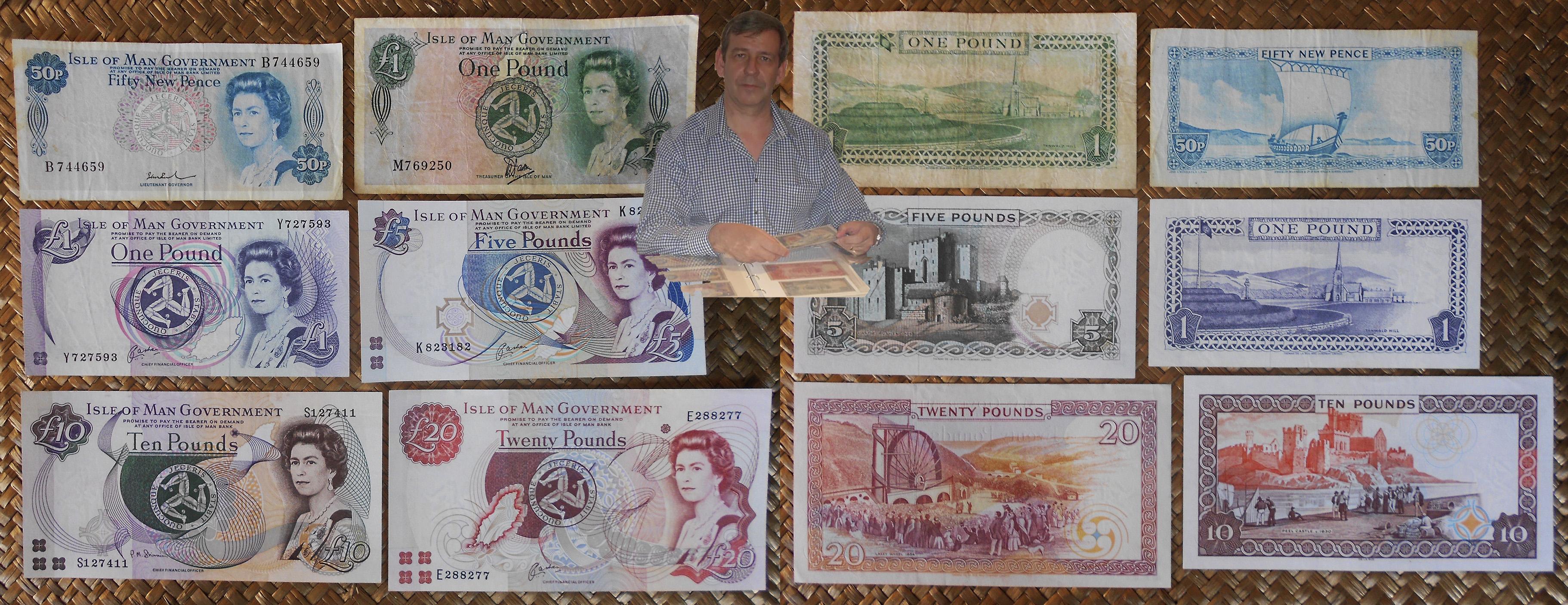 Isla de Man serie pence y pounds años '70-'80-'90 s.XX Isabel II anversos y reversos
