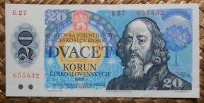 Checoslovaquia 20 korun 1988 (137x67mm) pk.95 anverso
