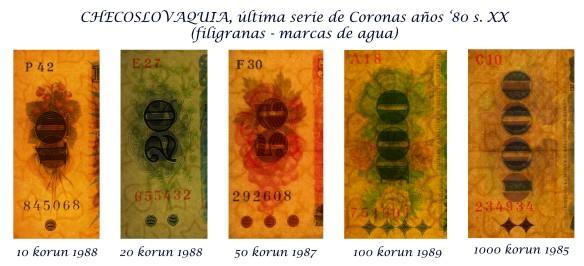 Checoslovaquia ultima serie coronas años '80 s.XX filigranas-marcas de agua