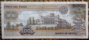 México 5000 pesos 1987 pk.88b reverso