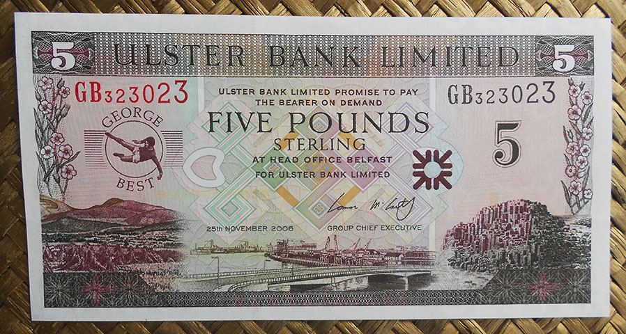 Irlanda del Norte 5 pounds 2006 Ulster Bank -George Best- (132x68mm) pk.339 anverso