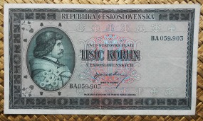 Checoslovaquia 1000 korun 1945 (165x95mm) pk.65a anverso