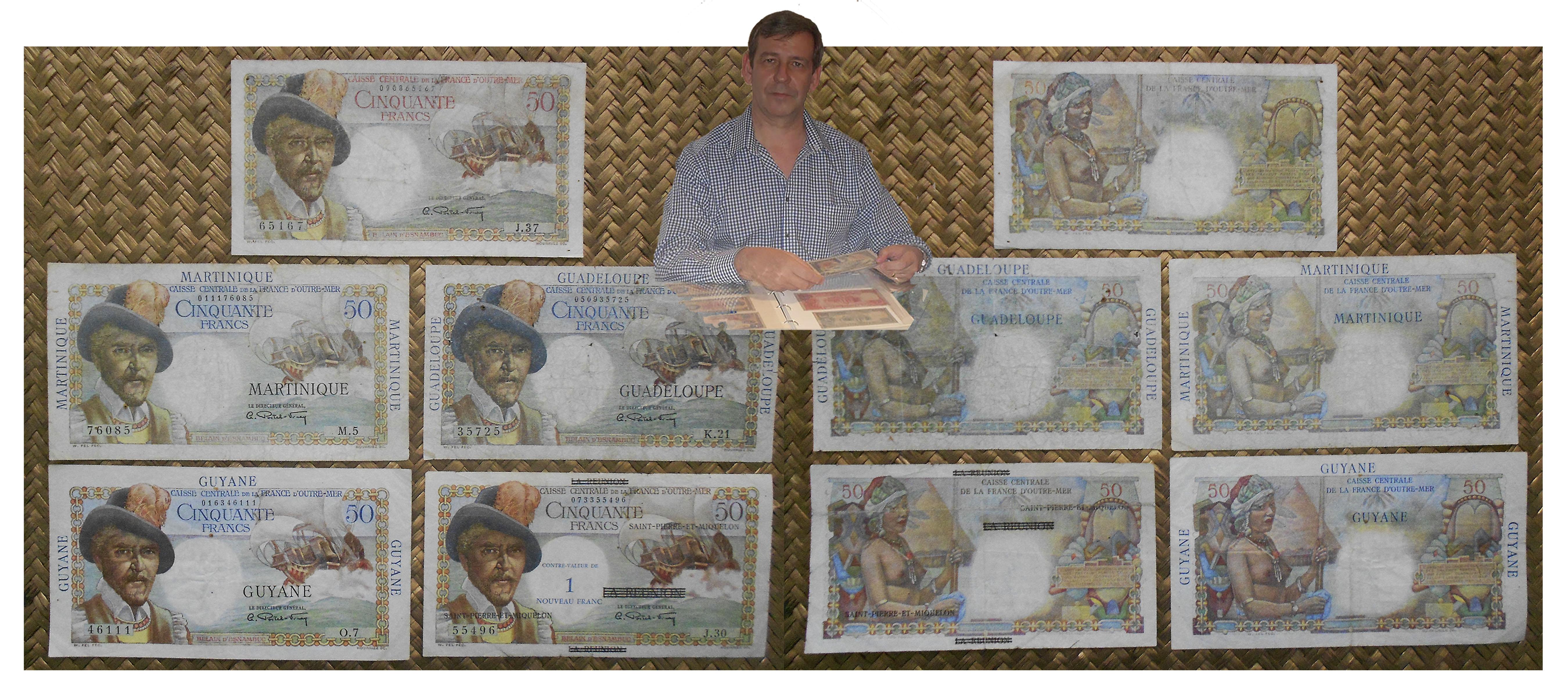 colonias francesas de ultramar 50 francos belain d'esnambuc 1947-1960 anversos y reversos