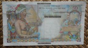 San Pedro y Miguelon 1 Nuevo franco NF sobreimpreso 50 francos Reunion pk.30b reverso
