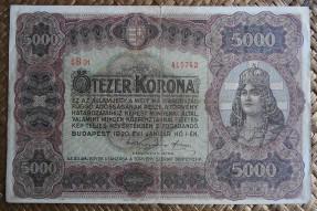 Hungria 5000 coronas 1920 (204x134mm) pk.67 anverso