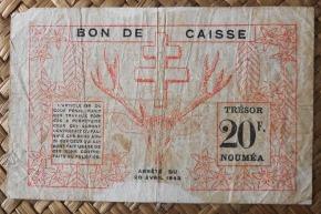 Nueva Caledonia 20 francos 1943 Bono -Tesoro de Noumea pk.57a reverso