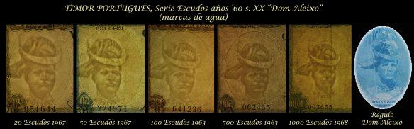 Timor portugues serie escudos Regulo D Aleixo años '60 s.XX marcas de agua