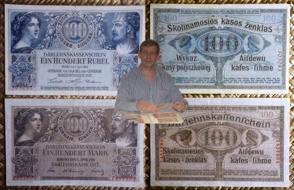 Europa oriental ocup. alemana WWI 100 rubel Posen 1916 vs. 100 mark Kowno 1918 anversos-reversos