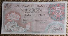 Indias Orientales Holandesas 5 gulden 1946 (148x74mm) pk.88 anverso