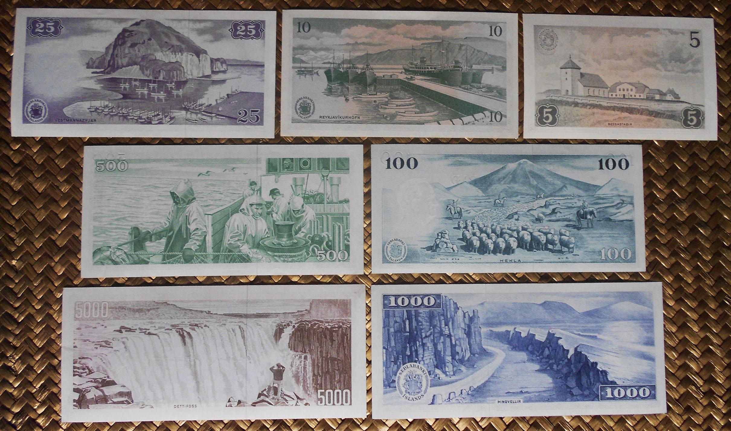 Islandia Seôlabanki Islands serie coronas 1961 reversos