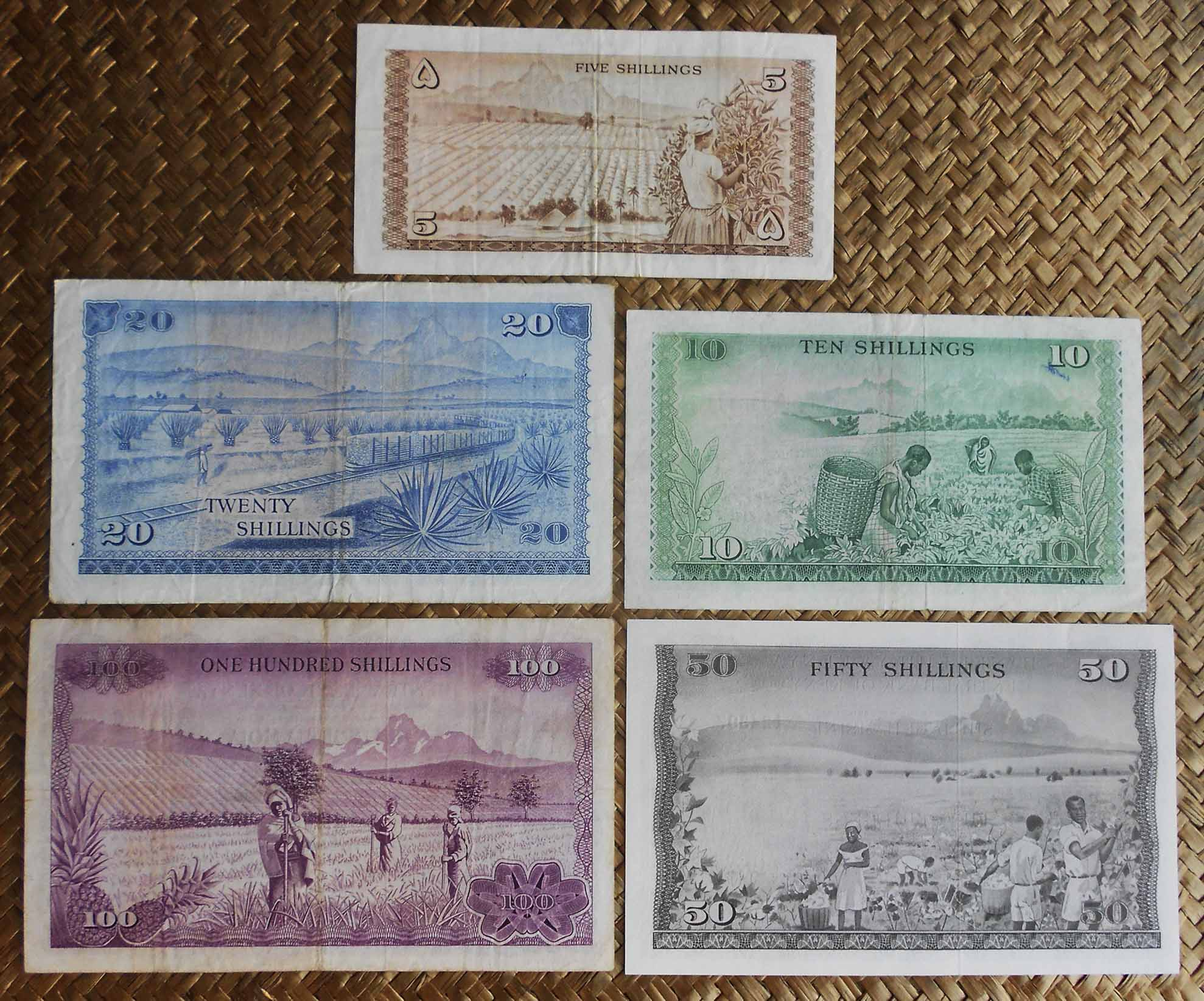Kenia 1ª serie de Shillingis 1966-1973 Presidente Mzee reversos
