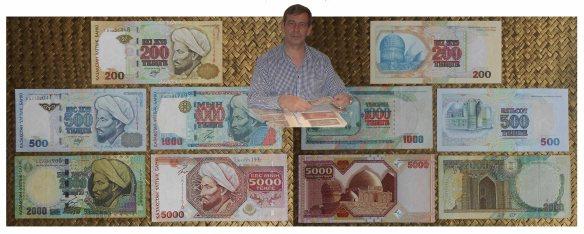 Kazajistan serie tenges 1999-2001 anversos y reversos