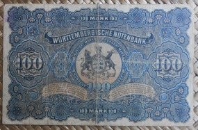 Alemania 100 mark 1911 Württemberg Notenbank pk.S979c reverso