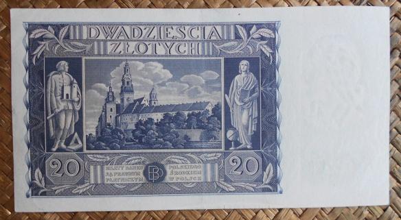 Polonia 20 zlotych 1936 pk.77 reverso