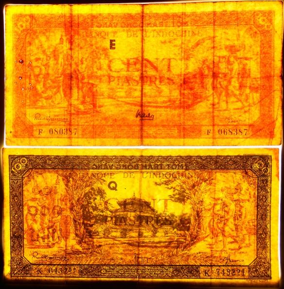 Indochina serie piastras 1942-45 Templo de Hung marcas de seguridad